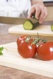 Cutting cucumber stock photo