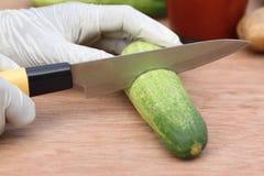 Cutting cucumber Stock Photos