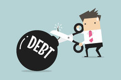Cutting debt bomb, businessman's hand holding scissors to cut debt. Vector Royalty Free Stock Photography