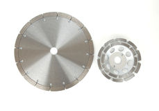 Cutting disks with diamonds - Diamond discs for concrete isolated on the white background. Cutting disks with diamonds - Diamond discs for concrete isolated on Royalty Free Stock Images