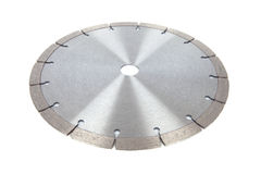 Cutting disks with diamonds - Diamond discs for concrete isolated on the white background. Cutting silver disks with diamonds - Diamond discs for concrete Stock Photo