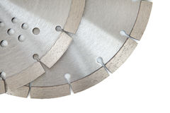 Cutting disks with diamonds - Diamond discs for concrete isolated on the white background. Cutting silver disks with diamonds - Diamond discs for concrete Stock Image