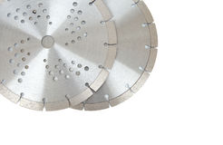 Cutting disks with diamonds - Diamond discs for concrete isolated on the white background. Cutting silver disks with diamonds - Diamond discs for concrete Stock Photography