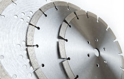 Cutting disks with diamonds - Diamond discs for concrete isolated on the white background Stock Photo