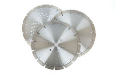 Cutting disks with diamonds - Diamond discs for concrete isolated on the white background. Cutting silver disks with diamonds - Diamond discs for concrete Royalty Free Stock Images