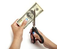 Cutting dollar Stock Photos