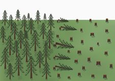 Cutting down of a pine forest landscape, big trees and a lot of stumps, vector horizontal. Cutting down of a pine forest landscape, big trees and a lot of stumps Royalty Free Stock Photos