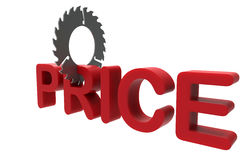 Cutting down the price concept. 3D concept regarding cutting the prices. The composition is isolated on a white background Stock Image