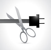 Cutting an electric cabe illustration design Royalty Free Stock Images