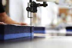 Cutting the fabric, sewing work. Royalty Free Stock Photos
