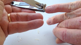 Cutting Finger Nails stock footage