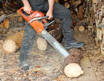 Cutting firewood Stock Photos