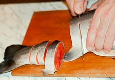 Cutting of Fish Royalty Free Stock Photography