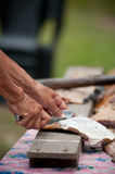 Cutting fish on wooden plank. View of hands cutting some dried fish on wooden plank Stock Photo