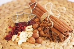 Cutting forms with nuts, dry cranberry, star anise and cinnamon Stock Images