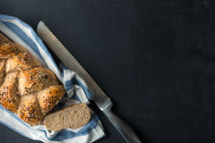 Cutting fresh Bread Stock Photography