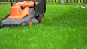 Cutting fresh green grass with lawn mower. Man cutting fresh green grass with lawn mower stock video footage