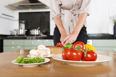 Cutting fresh ingredients Royalty Free Stock Image