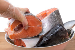 Cutting fresh salmon Royalty Free Stock Images