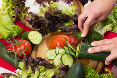 Cutting fresh vegetables for salad royalty free stock images