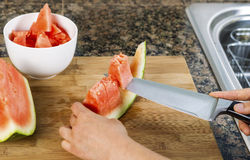 Cutting fresh watermelon Stock Photography