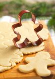 Cutting gingerbread cookies dough homemade for Christmas. Select Royalty Free Stock Photo