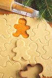 Cutting gingerbread cookies dough homemade for Christmas Royalty Free Stock Image