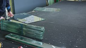 Cutting Glass Process stock video footage