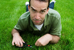 Cutting The Grass Stock Image