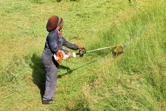Cutting grass in the caribbean Royalty Free Stock Photo