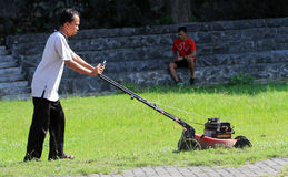 Cutting grass. Worker was cutting grass in a stadium in the city of Solo, Central Java, Indonesia Royalty Free Stock Photos