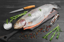 Cutting gutted red fish trout. Sweetfish on board, spices trout rosemary, different kinds of peppers, salt, dark black wood background, rustic style Royalty Free Stock Photography