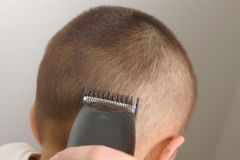 Cutting Hair 1. Closeup view of a haircutting session royalty free stock images