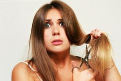 Cutting hair Royalty Free Stock Image
