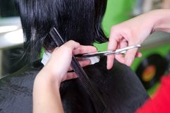 Cutting hair Stock Photo
