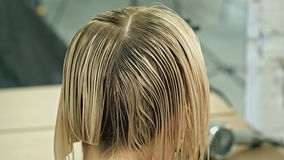 Cutting hair in a beauty salon stock video