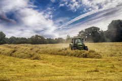 Cutting hay the tractor. In the summertime against the blue cloudy sky Stock Photos