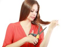 Cutting her hair Royalty Free Stock Photo
