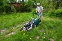The man cuts the lawn with an combustion mower in the backyard garden. Cutting high grass with a large hand-driven combustion lawn mower. Man during work royalty free stock photography