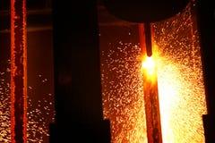Cutting hot steel. Stock Photos