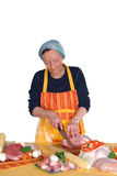 cutting housewife meat Στοκ Εικόνες
