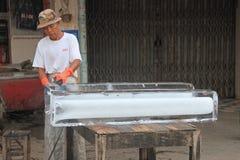 Cutting Ice Block Royalty Free Stock Photo
