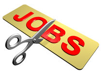 Cutting Jobs. A pair of scissors cutting through the word Jobs Stock Photography
