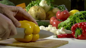 Cutting Knife Bell Pepper stock footage