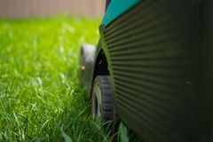 Cutting, the lawn machine on the green grass,  closeup. Cutting the lawn machine on the grass Royalty Free Stock Photography