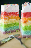 Cutting layer cake Stock Image