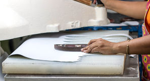 Cutting leather Royalty Free Stock Photo
