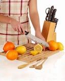 Cutting lemon Stock Image