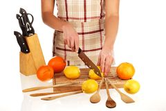 Cutting lemon 2 Royalty Free Stock Photo