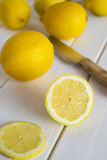 Cutting lemons Royalty Free Stock Photos